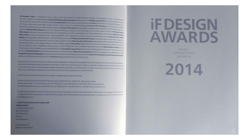 Viktor Bilak./ iF yearbook 2014, Page 379, Verlag Publisher if DESIGN MEDIA GmbH, Hannover/Germany,ISBN 978-3-7913-4929-9